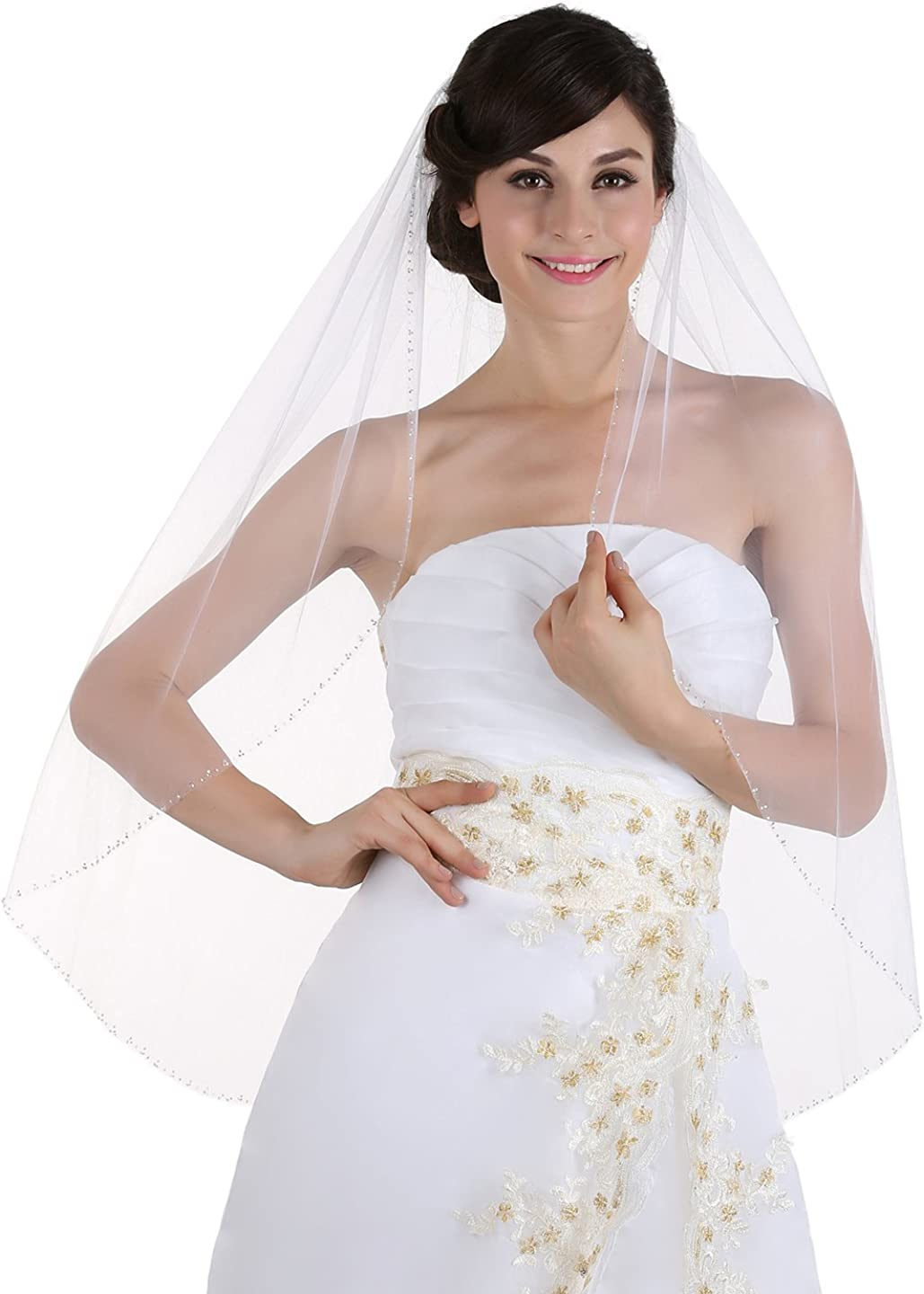 SAMKY 1T 1 Tier Beaded Edge Bridal Wedding Veil