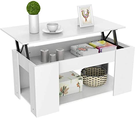 Amazon Com Heavy Duty Lift Top Coffee Table W Hidden Compartment And Storage Shelves Pop Up Storage Cocktail Table For Parlors Drawing Room Living Room Kitchen Anteroom And Office Kitchen Dining