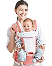 Kidshome Baby Carrier 4-in-1 Ergonomic Baby Hipseat Front Facing Carrier Detachable Comfortable for 0-3 Years Baby (pink)