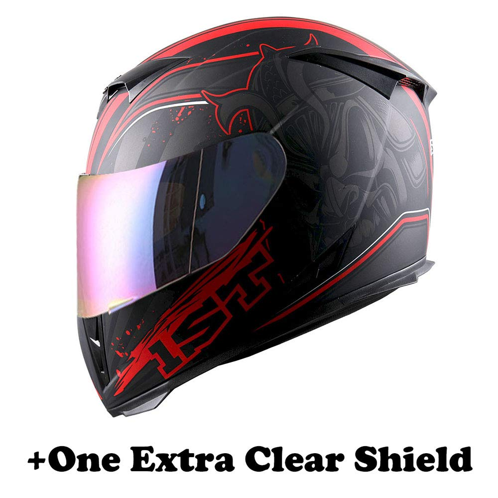 Size Small One Extra Clear Shield 53-54 CM,20.9//21.3 Inch 1STorm Motorcycle Full Face Helmet Skull King Glossy Red