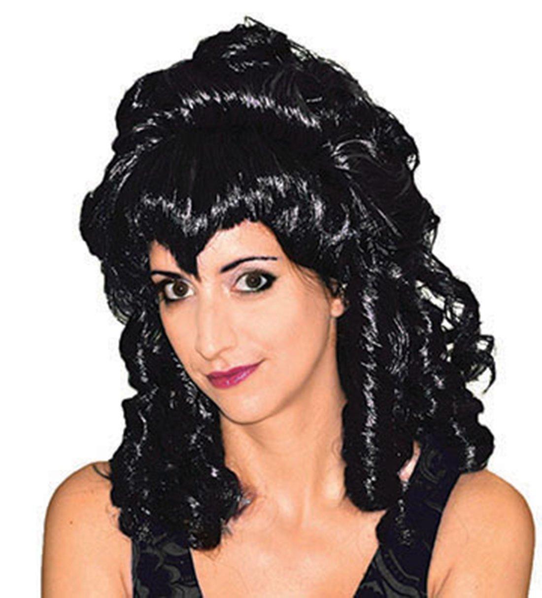 Faschingsfete Déguisement Fete Femme aristocrates perruque Vampire–Halloween Boucles Cheveux De Sorcière, Noir 3 horses