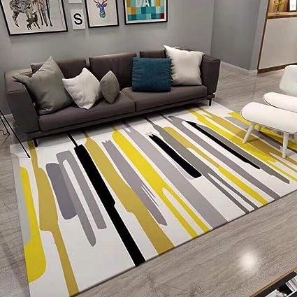 Outdoor Qj Large Modern Rug Area Carpet Yellow Gray Black White Stripes 2x3m Non Slip Bedroom Living Room Dining Room Floor Mat Runner Rugs Amazon Co Uk Kitchen Home
