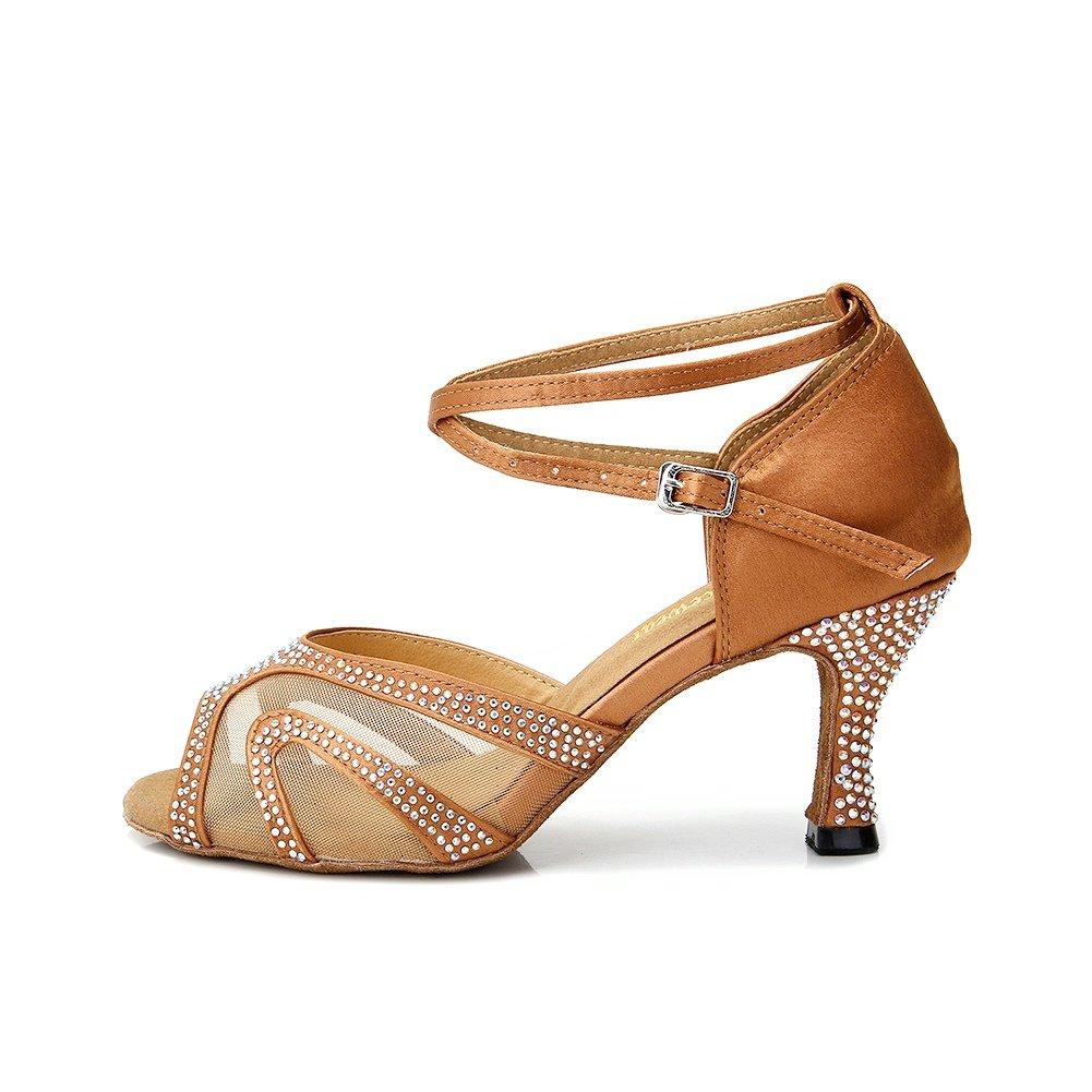 TTdancewear Rhinestones Ballroom Dance Shoes Women Latin Salsa Suede Bachata Performance Dance Shoes Suede Salsa Sole B071FML1MD 7.5 M US|Tan-3inch Heels 6f508f