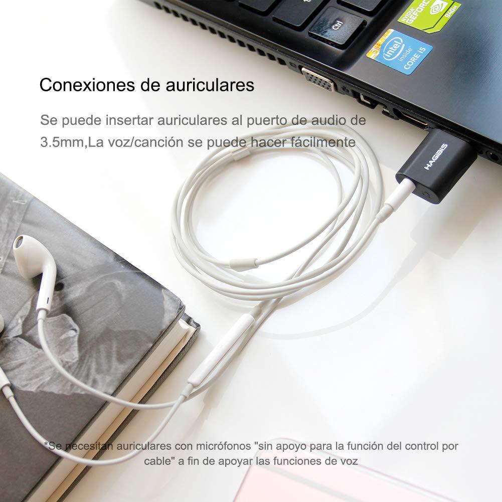 Hagibis Adaptador de Tarjeta de Sonido Externa USB 2in1 USB a 3.5mm Auriculares y Adaptador Audio de micr/ófono Jack Tarjeta de Sonido est/éreo de micr/ófono para Windows Mac port/átiles Ordenadores PS4