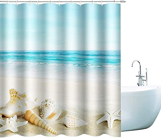 Blue sky seashell beach style Bathroom Shower Curtain Fabric w//12 Hooks 71*71in