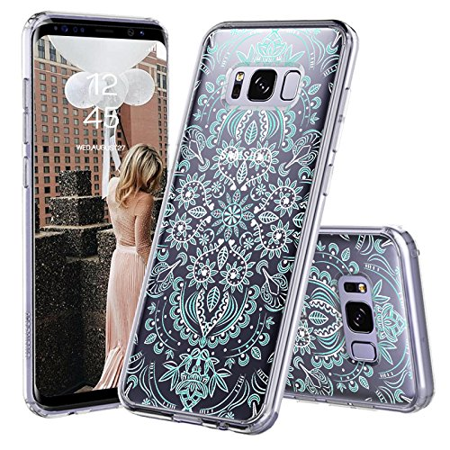 (Galaxy S8 Case, Galaxy S8 Cover, MOSNOVO Aqua and White Mandala Printed Clear Design Transparent Plastic Hard Back Case with TPU Bumper Protective Case Cover for Samsung Galaxy S8 (2017))