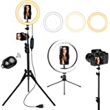 """Brizled 10"""" Selfie Ring Light with 61"""" Extendable Tripod & Desk Stand, 3 Mode Dimmable LED Circle Light with Camera & Phone H"""