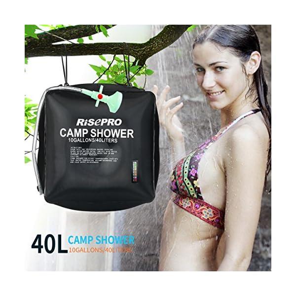 Risepro® XH07 Doccia solare, serbatoio a borsa da 40 litri, da campeggio, a riscaldamento solare con acqua a temperatura… 5 spesavip
