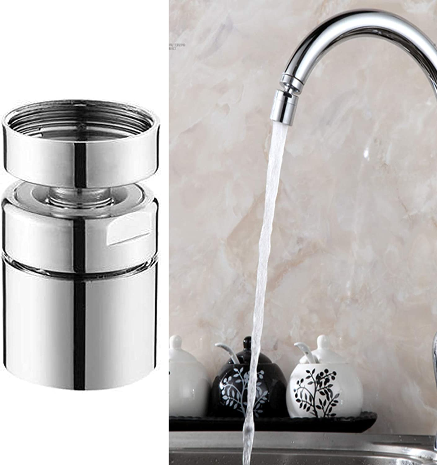 Hibbent Dual-function Kitchen Sink Faucet Aerators dual-function 360-Degree Swivel Big Angle Rotate Water Saving Tap Aerator Diffuser Faucet Sprayer Replacement-55//64 Inch-27UNS Female Thread-Chrome