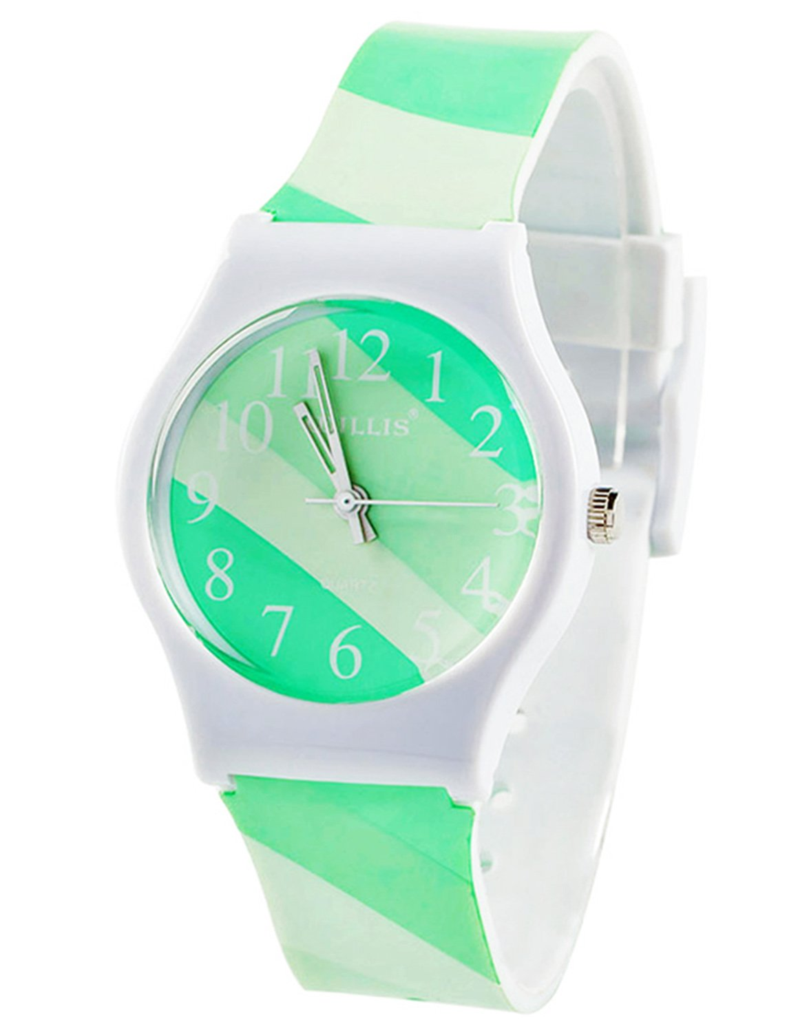 Tonnier Watches Resin Super Soft Band Student Watches for Teenagers Young Girls Starry (Fresh Fruit Green Stripe)
