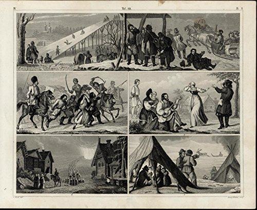 Sledding Music Dancing Campfire Violence 1855 antique print w/ amazing details
