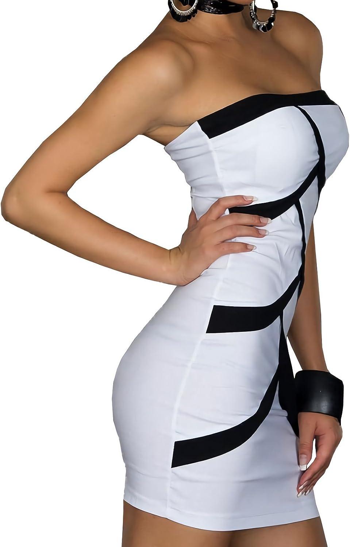 MEDIA WAVE store Mini Abito Donna MOD Strips Corto Tubino MWS Ahead Aderente Senza Spalline Bianco