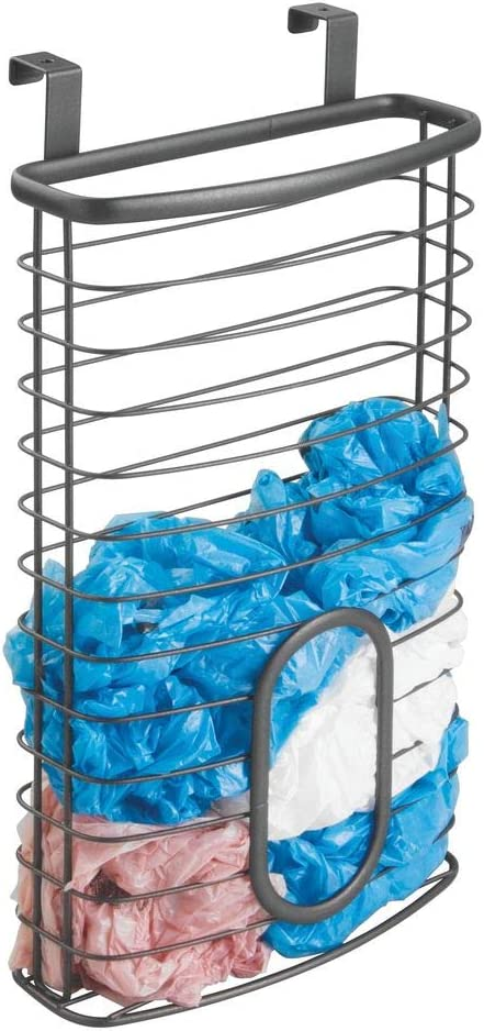 mDesign Metal Over Cabinet Kitchen Storage Organizer Holder or Basket - Hang Over Cabinet Doors in Kitchen/Pantry - Holds up to 50 Plastic Shopping Bags - Graphite Gray