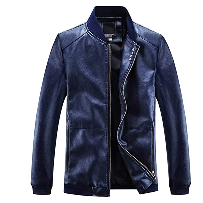 TYWAG PU Motorcycle Leather Jacket Men Warm Punk Clothing Waterproof Casual New Biker Coat at Amazon Mens Clothing store: