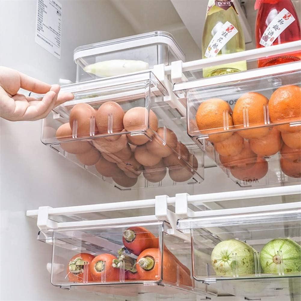 YekouMax Fridge Drawer Organizer, Refrigerator Organizer Bins, Pull Out with Handle, Fridge Shelf Holder Storage Box, Clear Container for Food, Drinks, Fit for Fridge Shelf Under 0.6