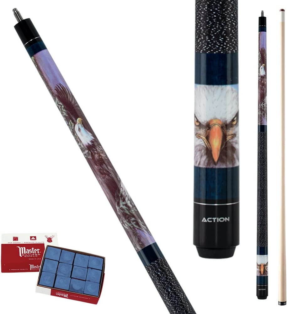 New Action ADV99 Pool Cue Stick Blue w//American Bald Eye 18-21 oz /& Case