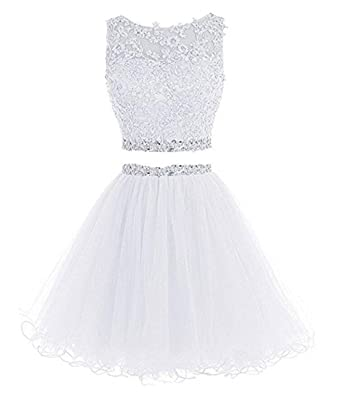 45542faade1 Scoop Neck Elegent Lace Beaded A-line Evening Dress Prom Ball Gown White