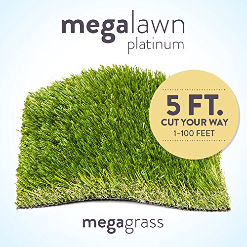 MegaGrass New 5' Roll Wholesale Custom Cut 5Ft x 88Ft Artificial Grass for Lawn and Landscaping Outdoor or Indoor Green Faux Fake Grass Decor | 440 SqFt | 1.88