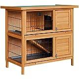 2 Storey Rabbit Hutch Chicken Coop Guinea Pig w/Tray Ferret Cage Hen House Run