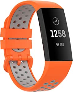 """Replacement Bands Compatible with Fitbit Charge 4 3 SE for Men,YHC Sport Watch Bands Soft Silicone Wristbands Breathable (Large(6.5""""-9""""), Orange/Gray)"""