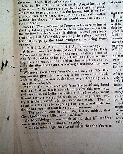(Rare Revolutionary War PHILADELPHIA PA Newspaper w/Battle of Eutaw Springs SC THE PENNSYLVANIA JOURNAL & THE WEEKLY ADVERTISER, Philadelphia, Dece.)
