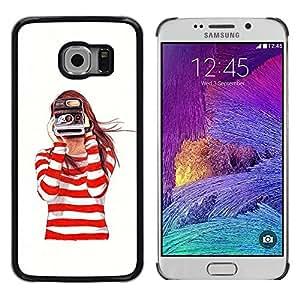 iKiki Tech / Estuche rígido - Camera Redhead Girl White - Samsung Galaxy S6 EDGE SM-G925