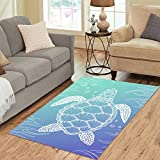 InterestPrint Home Decor Ocean Animal Sea Turtle Area Rug Carpet 5'x 3'3″, Line Art Style Turtle Modern Carpet Floor Mat Rugs for Children Kid Living Room Bedroom Playroom For Sale