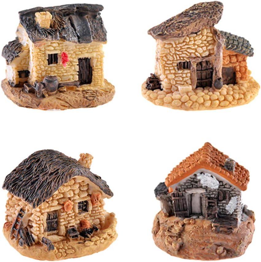 MAOMIA Miniature Fairy Garden Stone House 4 Pcs Micro Landscape Garden Decoration Cottage Plant Flower Pots Ornaments
