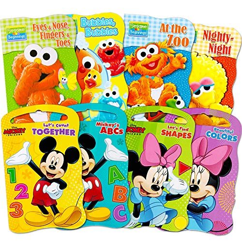 (2 Set of Baby Toddler Beginnings Board Books (Sesame Street Set + Mickey Mouse and Friends Set) - Total 8 Books by Bendon)