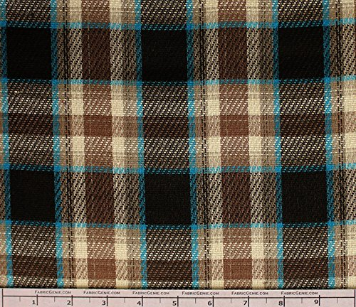 Hunter Poly Rayon Plaid Stretch Suiting Fabric, Stretch Suiting Fabric, Suiting Fabric-BROWN/BLUE (Brown Suiting)