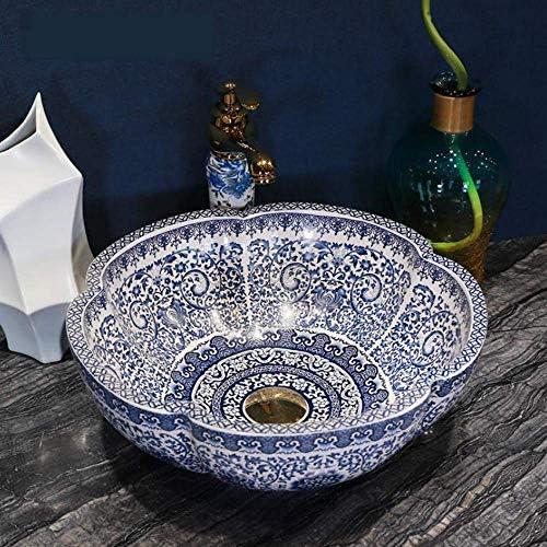 中国セラミックカウンタートップ洗面蛇口は、青と白のクロークハンドペイント容器シンクバスルームのシンクボウルの洗面台を設定しました,操作簡単