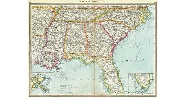 Map Of Usa Florida.Amazon Com Usa Southern Us Maps Of Mouths Mississippi Florida