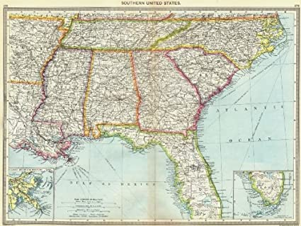 Amazon.com: USA. Southern US; maps of Mouths Mississippi; Florida ...