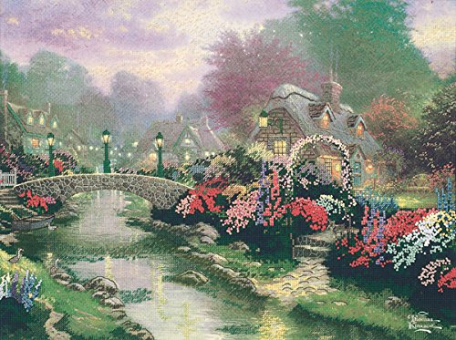 - M C G Textiles Thomas Kinkade Lamplight Bridge Embellished Cross Stitch Kit, 12 by 16-Inch