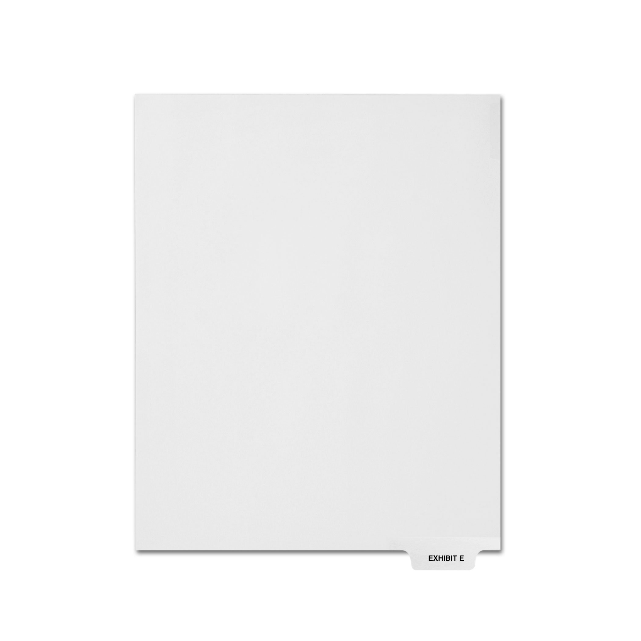 AMZfiling Individual Legal Index Tab Dividers, Compatible with Avery- Exhibit E, Bottom Tabs, Letter Size, White, Position 5 (25 Sheets/pkg)