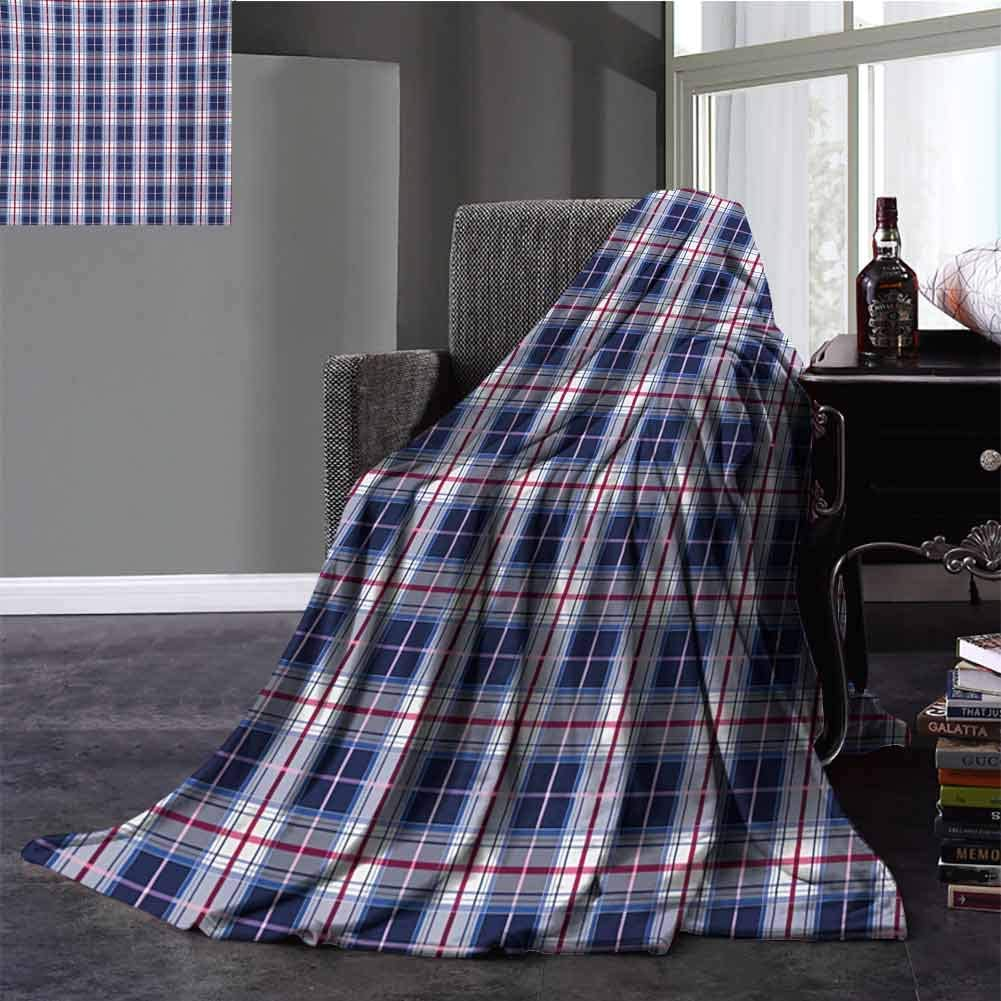 Checkered Family Blanket Classical Vintage Design with Vibrant Colors Scottish Tartan Tile Baby Small Fleece Blanket Full Size Maroon Royal Blue White 70x90 Inch
