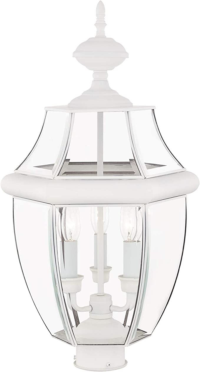 Livex Lighting 2354-03 Outdoor Post with Clear Beveled Glass Shades White