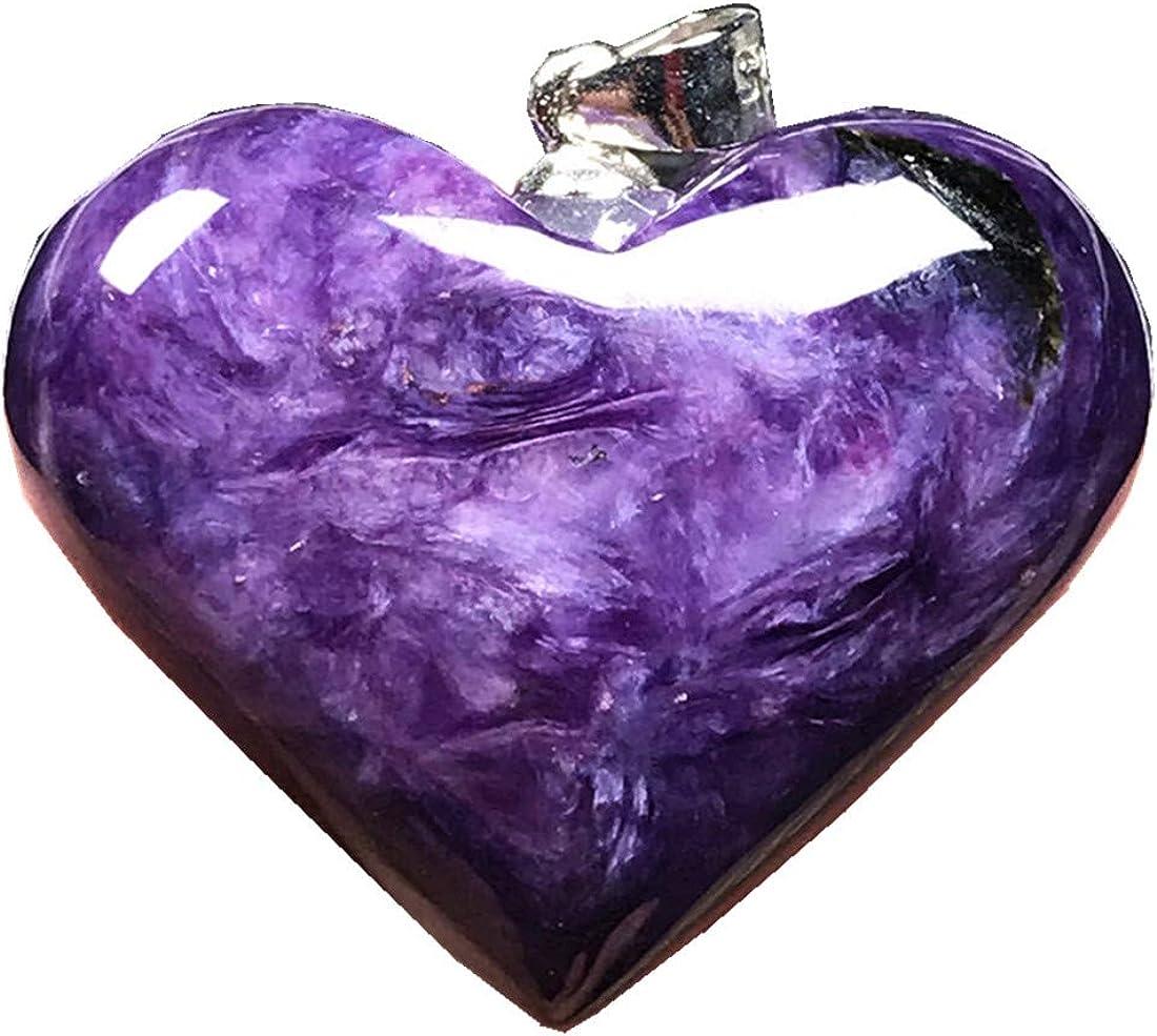 DUOVEKT - Colgante de corazón natural de cristal de carroita, color morado con colgante de charoite para mujer y hombre, 25 x 8 mm, piedras preciosas de plata de ley 925 AAAAA