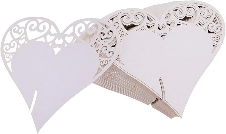 Amazon Segnaposto Matrimonio.Flowow 100x Cuore Decorazioni Perlato Bianco Segna Posto