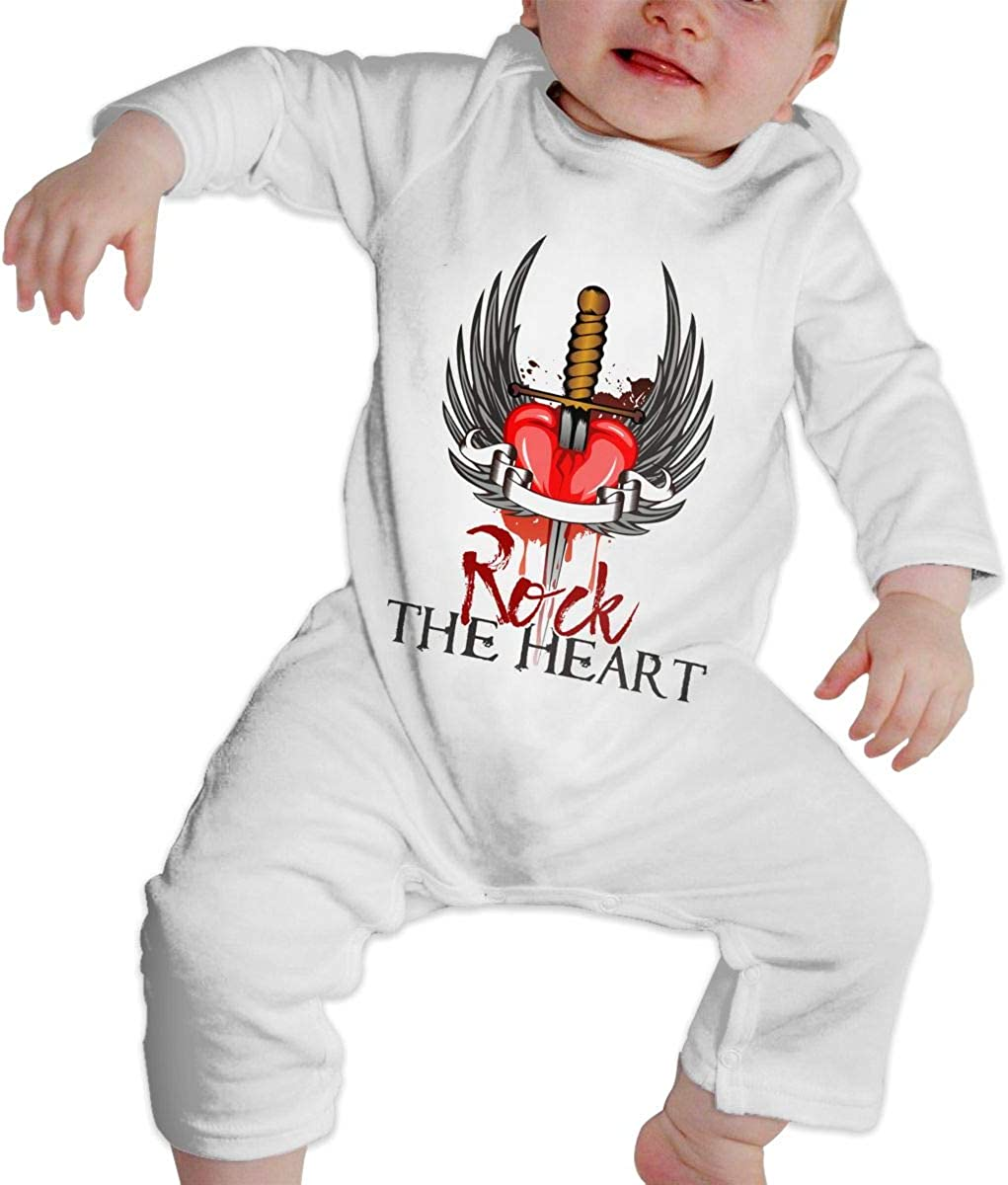 Heart Rock Band Boys//Girls Baby Cotton Long Sleeve Romper Warm Bodysuit
