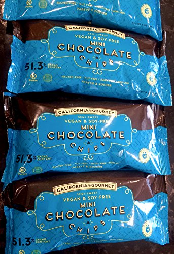 (51.3% Cocoa Vegan Chocolate Chips Soy Free Dairy Free Kosher Gluten Free Nut Free 8 oz. bags (3 Pack) )