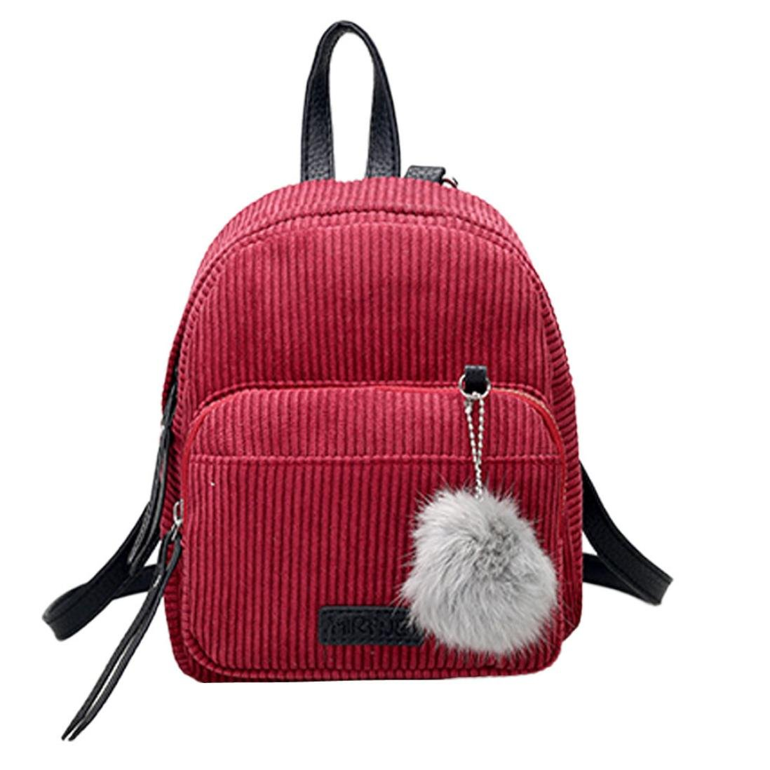 Womens Leather Corduroy Backpack Casual Style Flap Backpacks Daypack for Ladies (Red)