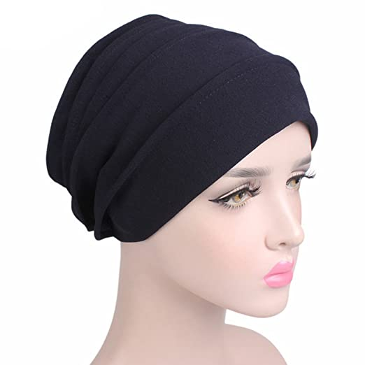 d027fe56b18 Stebcece Cotton Turban Slouchy Snood Caps for Women with Chemo Cancer Hair  Loss (Black)