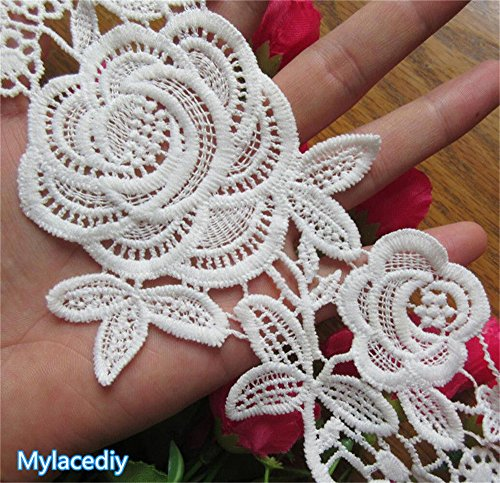 2 Meters Flower Rose Cotton Lace Edge Trim Ribbon 10 cm Width Vintage Style White Edging Trimmings Fabric Embroidered Applique Sewing Craft Wedding Bridal Dress Embellishment Decor Clothes Embroidery
