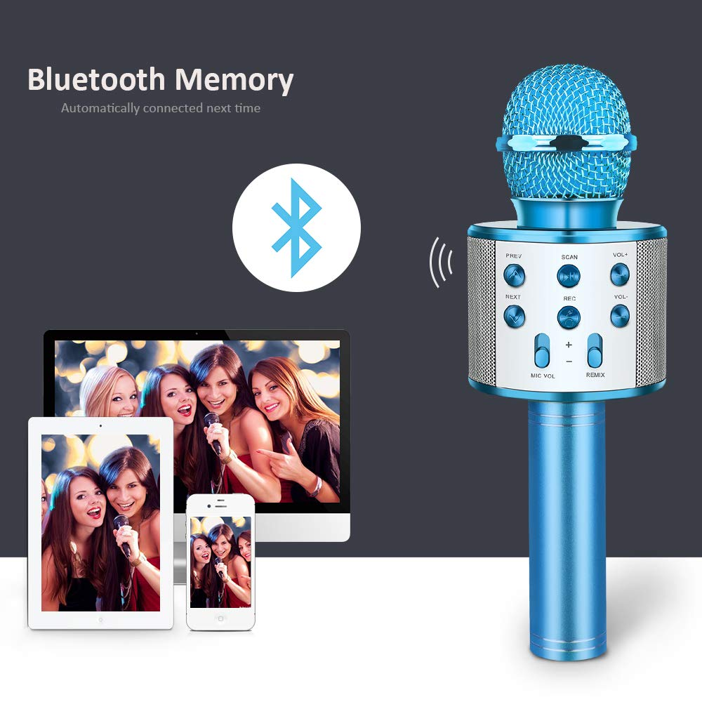 Kids Microphone Wireless Bluetooth, TOP TOY New Toys for 4-15 Year Old Boys Girls Wireless Karaoke Mic Machine Bluetooth for Kids Adults Hot Gifts Singing Games for Kids Teen Boys Girls Blue TTMP04 by ATOPDREAM (Image #6)