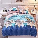 TheFit Paisley Textile Bedding for Young Adult W545 Blue Smile Mountain Duvet Cover Set 100% Cotton, Queen Set, 4 Pieces