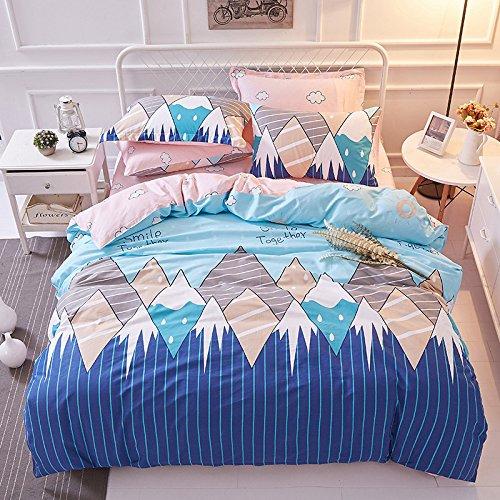 - TheFit Paisley Textile Bedding for Young Adult W545 Blue Smile Mountain Duvet Cover Set 100% Cotton, Queen Set, 4 Pieces