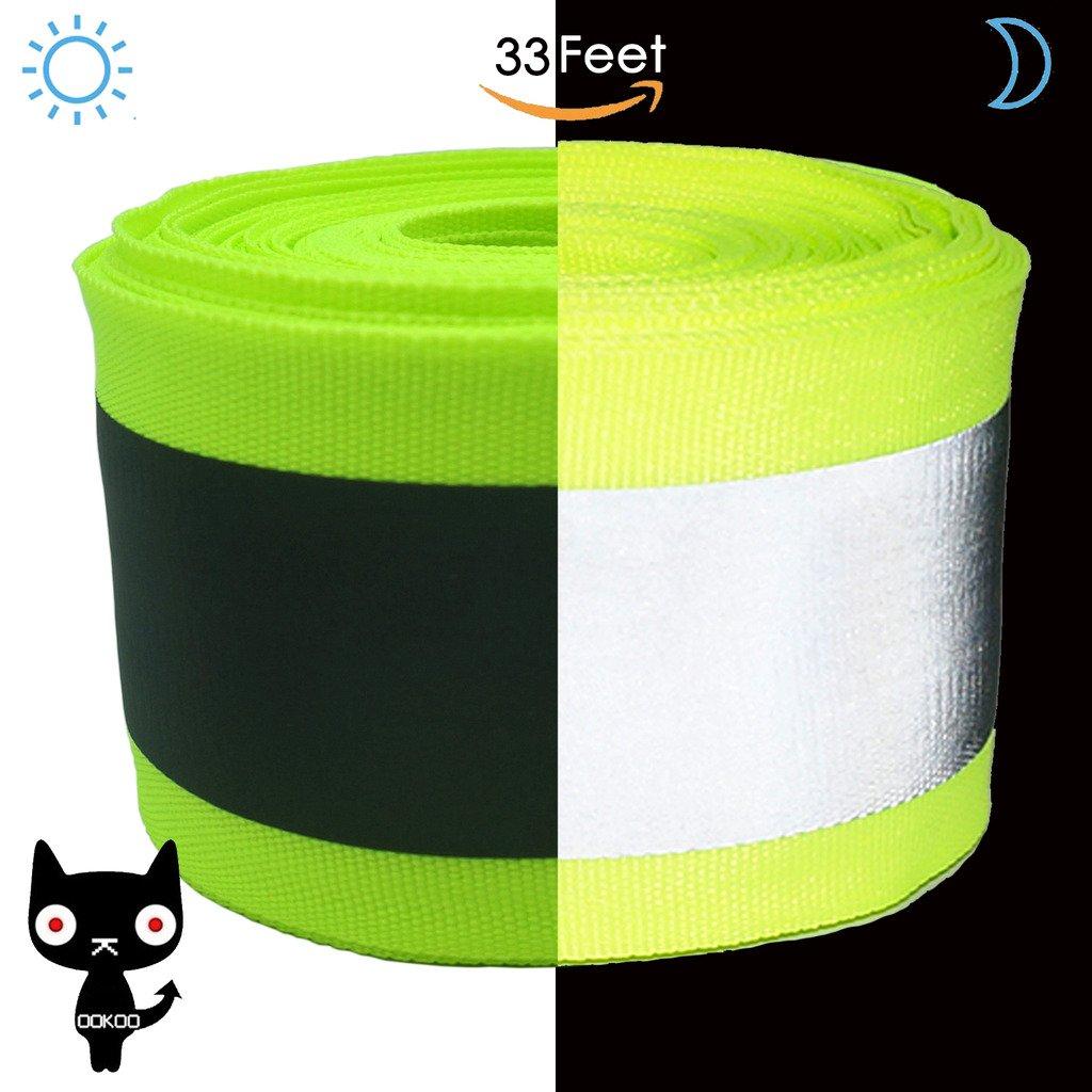 ookoo Stoff Reflektierende Sicherheit Tape Weste Trim Band Nähen auf–Größere Reflektierende–Grün Green-16.5ft