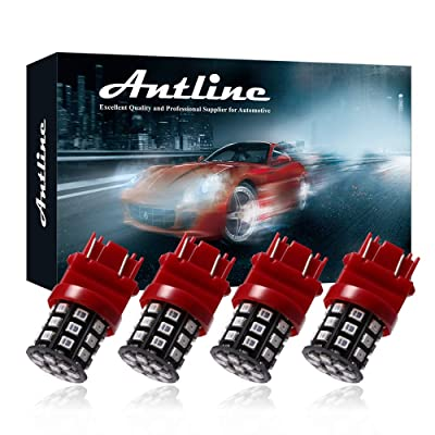 Antline 3157 3156 3057 4157 3056 LED Bulbs Brilliant Red, 12-24V Super Bright 800 Lumens Replacement for Tail Brake Lights, Turn Signal Lights, Parking Light (Pack of 4): Automotive
