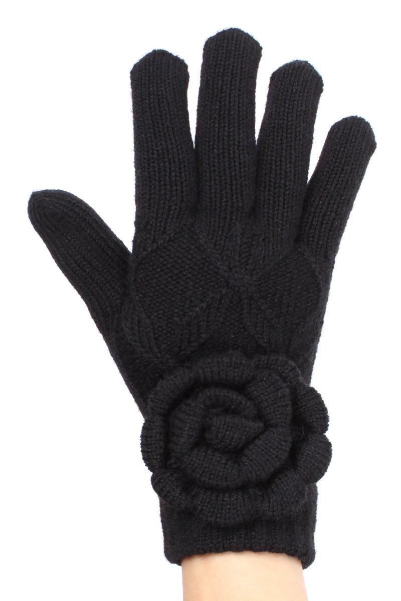 LL Black Flower Womens Knit Gloves Chenille Plush Fleece Lining